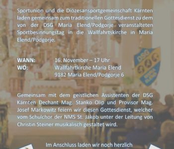 Sportlerbesinnungstag am 16. November um 17:00 Uhr